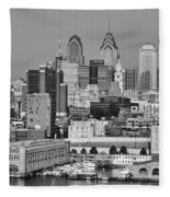 Black And White Philadelphia - Delaware River Fleece Blanket