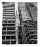 Black And White Philadelphia - Skyscraper Reflections Fleece Blanket