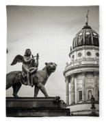 Black And White Photography - Berlin - Gendarmenmarkt Square Fleece Blanket