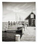 Black And White Photography - Martha's Vineyard - Black Dog Wharf Fleece Blanket