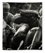 Black And White Photography - Motorcyclists Fleece Blanket