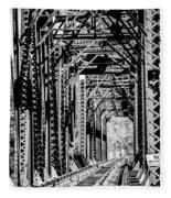 Black And White Railroad Fleece Blanket