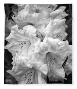 Black And White Rhododendron Fleece Blanket