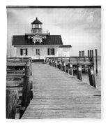 Black And White  Roanoke Lighthouse Fleece Blanket
