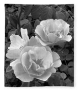 Black And White Roses 1 Fleece Blanket