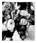 Black And White Seashells Fleece Blanket