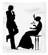 Black And White Silhouette Of A Man Giving A Woman A Flower Fleece Blanket