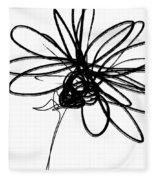 Black And White Sketch Flower 4- Art By Linda Woods Fleece Blanket