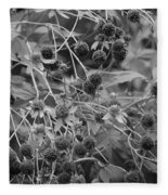 Black And White Sun Flowers  Fleece Blanket