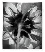 Black And White Sunflower 5 Fleece Blanket