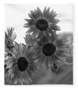 Black And White Sunflowers Fleece Blanket