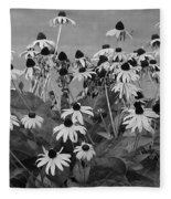 Black And White Susans Fleece Blanket