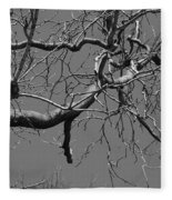 Black And White Tree Branch Fleece Blanket