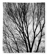 Black And White Tree Branches Silhouette Fleece Blanket