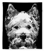Black And White West Highland Terrier Dog Art Sharon Cummings Fleece Blanket