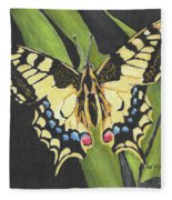 Black And Yellow Butterfly Fleece Blanket