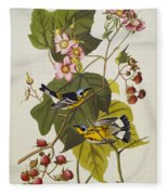 Black And Yellow Warbler Fleece Blanket