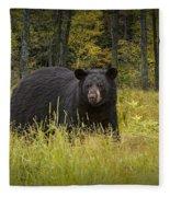 Black Bear In The Grass Fleece Blanket
