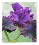 Black Bearded Iris Fleece Blanket