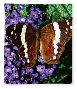 Black Butterfly On Heliotrope Fleece Blanket
