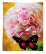 Black Butterfly On Peony Fleece Blanket