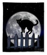 Black Cat And Full Moon 3 Fleece Blanket