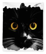 Black Cat, Yellow Eyes Fleece Blanket
