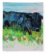 Black Cow Lying Down Painting Fleece Blanket