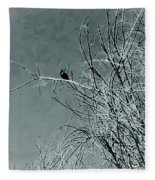 Black Crow White Snow Fleece Blanket