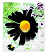 Black Daisy Fleece Blanket