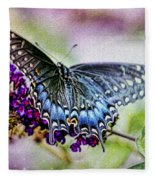 Black Eastern Swallowtail Fleece Blanket