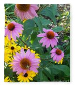 Black Eye Susans And Echinacea Fleece Blanket