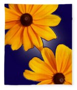 Black-eyed Susans On Blue Fleece Blanket