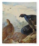 Black Grouse And Gamebirds By Thorburn Fleece Blanket