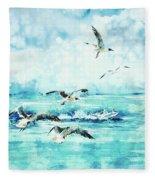 Black-headed Seagulls At Seven Seas Beach  Fleece Blanket