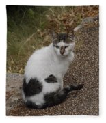 Black Heart Cat Fleece Blanket