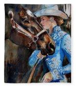 Black Horse And Cowgirl   Fleece Blanket