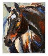 Black Horse Oil Painting Fleece Blanket