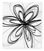 Black Ink Flower 1- Art By Linda Woods Fleece Blanket