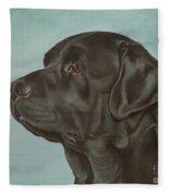 Black Labrador Dog Profile Painting Fleece Blanket