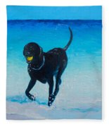 Black Labrador Painting Fleece Blanket