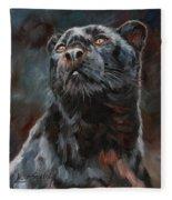 Black Leopard Fleece Blanket