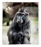 Black Macaque Monkey Sitting Fleece Blanket