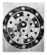 Mandala-black Fleece Blanket