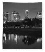 Black Night In Fort Worth Fleece Blanket
