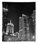 Black Night In The Windy City Fleece Blanket