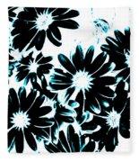 Black Petals With Sprinkles Of Teal Turquoise Fleece Blanket