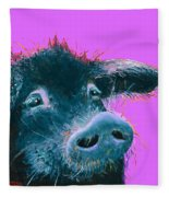 Black Pig Painting On Purple Fleece Blanket