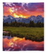 Black Ponds Sunset Fleece Blanket