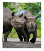 Black Rhinoceroses Fleece Blanket